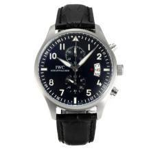 Replique IWC Portugaise Chronographe de travail avec bracelet en cuir noir Cadran Noir-- Attractive IWC Portugaise montre pour vous 31842