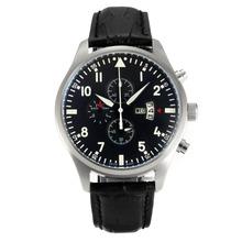 Replique IWC Pilot Chronograph de travail avec bracelet en cuir noir Cadran-Black - Montre d'Aviateur IWC attrayant pour vous 31841