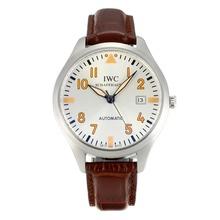 Replique CBI classique automatique avec cadran blanc-bracelet en cuir - Attractive Autres IWC montre pour vous 31839