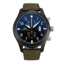 Replique Pilot IWC Top Gun travail Chronographe PVD affaire avec sangle en nylon noir Dial-militaire - Attractive Pilot IWC montre pour vous 31833