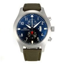 Replique IWC Chronographe Top Gun pilote de travail avec cadran bleu-bracelet militaire en nylon vert - Attractive Pilot IWC montre pour vous 31831