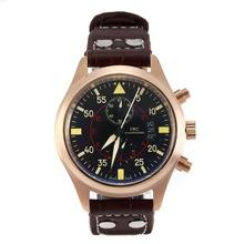 Replique IWC Top Gun Miramar pilote-Chronographe en or rose avec cadran noir-bracelet en cuir - Attractive IWC Montre d'Aviateur pour vous 31825