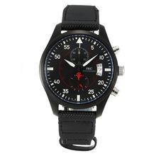 Replique IWC Top Gun Miramar Pilot Chronograph de travail complet PVD Cadran Noir-Blanc Marqueurs - Attractive Montre d'Aviateur IWC pour vous 31824