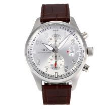 Replique Chronographe IWC Pilot de travail avec bracelet en cuir cadran blanc-café - Attractive Montre d'Aviateur IWC pour vous 31806