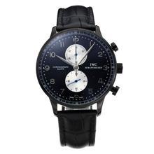 Replique IWC Portugaise Chronographe Chronographe PVD affaire de travail avec cadran noir-bracelet en cuir - Attractive montre IWC Portugaise pour vous 31773