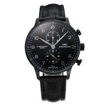 Replique IWC Portugaise Chronographe Chronographe PVD affaire de travail avec cadran noir-bracelet en cuir - Attractive montre IWC Portugaise pour vous 31772