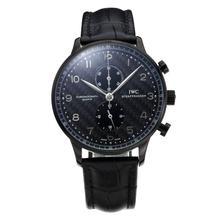 Replique IWC Portugaise Chronographe Chronographe PVD affaire de travail avec cadran noir-bracelet en cuir - Attractive montre IWC Portugaise pour vous 31771