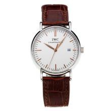 Replique IWC Portofino avec cadran blanc-bracelet en cuir-Champagne 31770 Marker