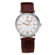 Replique IWC Portofino avec cadran blanc-bracelet en cuir-Champagne 31769 Marker