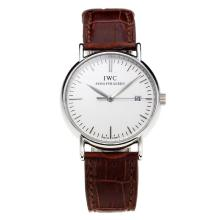 Replique IWC Portofino avec cadran blanc-bracelet en cuir blanc-Marker 31768