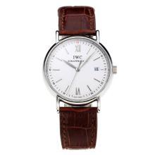 Replique IWC Portofino avec cadran blanc-bracelet en cuir blanc-Marker 31767