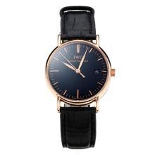 Replique IWC Portofino boîtier en or rose avec cadran noir-bracelet en cuir 31764