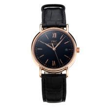 Replique IWC Portofino boîtier en or rose avec cadran noir-bracelet en cuir 31763