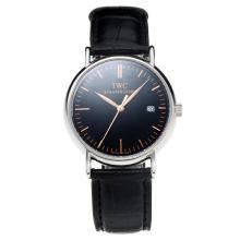 Replique IWC Portofino avec cadran noir-bracelet en cuir-Champagne 31762 Marker