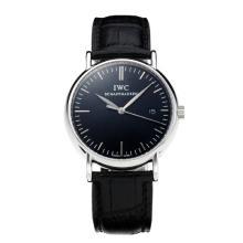 Replique IWC Portofino avec cadran noir-blanc-bracelet en cuir 31761 Marker