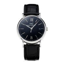 Replique IWC Portofino avec cadran noir-blanc-bracelet en cuir 31760 Marker