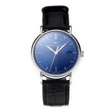 Replique IWC Portofino avec cadran bleu-bracelet en cuir blanc-Marker 31759