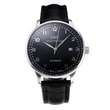 Replique IWC Portofino Automatic avec cadran noir-bracelet en cuir 31753