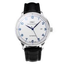 Replique IWC Portofino Automatic avec cadran blanc-bracelet en cuir bleu-marqueurs 31752