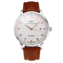 Replique IWC Portofino Automatic avec cadran blanc-bracelet en cuir-Rose Marker Or 31751