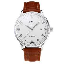 Replique IWC Portofino Automatic avec cadran blanc-bracelet en cuir Argent Marker-31750
