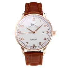 Replique IWC Portofino Automatic en or rose avec cadran blanc-bracelet en cuir 31749
