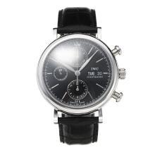 Replique IWC classique suisse Valjoux 7750 Mouvement avec cadran noir-bracelet en cuir-verre de saphir - Attractive Autres IWC montre pour vous 31745