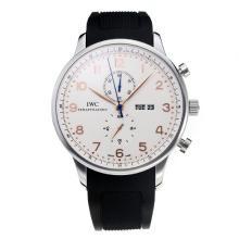 Replique IWC Chronographe travail classique avec cadran blanc-bracelet en caoutchouc - Attractive Autres IWC montre pour vous 31736