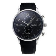 Replique IWC Chronographe travail classique avec cadran noir-Bracelet Caoutchouc - Attractive Autres IWC montre pour vous 31733