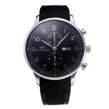Replique IWC Chronographe travail classique avec cadran noir-Bracelet Caoutchouc - Attractive Autres IWC montre pour vous 31732