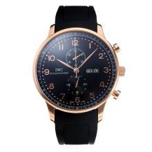 Replique IWC Chronographe travail classique boîtier en or rose avec cadran noir-Bracelet Caoutchouc - Attractive Autres IWC montre pour vous 31731