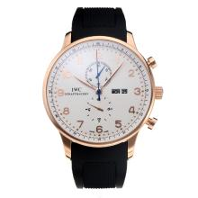 Replique IWC Chronographe travail classique boîtier en or rose avec cadran blanc-bracelet en caoutchouc - Attractive Autres IWC montre pour vous 31730