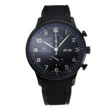 Replique IWC Chronographe travail classique PVD affaire avec cadran noir-Bracelet Caoutchouc - Attractive Autres IWC montre pour vous 31728