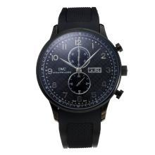 Replique IWC Chronographe travail classique PVD affaire avec cadran noir-Bracelet Caoutchouc - Attractive Autres IWC montre pour vous 31727