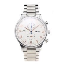 Replique IWC Chronographe travail classique avec cadran blanc-rose marqueurs d'or S / S - Attractive Autres IWC montre pour vous 31724