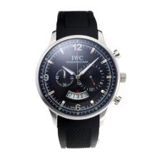 Replique IWC Chronographe travail avec cadran noir-Bracelet Caoutchouc - Attractive Autres IWC montre pour vous 31721