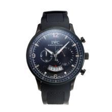 Replique IWC Chronographe PVD affaire de travail avec cadran noir-Bracelet Caoutchouc - Attractive Autres IWC montre pour vous 31720