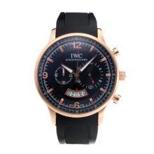 Replique IWC Chronographe de travail boîtier en or rose avec cadran noir-Bracelet Caoutchouc - Attractive Autres IWC montre pour vous 31719