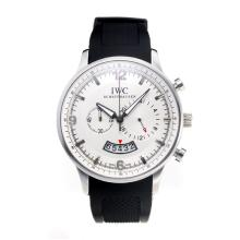 Replique IWC Chronographe travail avec cadran blanc-bracelet en caoutchouc - Attractive Autres IWC montre pour vous 31718