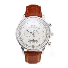Replique IWC Chronographe travail avec cadran blanc-bracelet en cuir - Attractive Autres IWC montre pour vous 31717