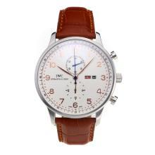 Replique IWC Chronographe travail classique avec cadran blanc-bracelet en cuir - Attractive Autres IWC montre pour vous 31716