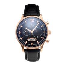 Replique IWC Chronographe de travail boîtier en or rose avec cadran noir-bracelet en cuir - Attractive Autres IWC montre pour vous 31715