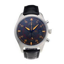Replique IWC Top Gun Pilot Chronographe Miramar de travail avec cadran noir-bracelet en cuir - Attractive IWC Montre d'Aviateur pour vous 31708