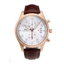 Replique IWC Pilot Spitfire Chronograph de travail chronographe en or rose avec cadran blanc-bracelet en cuir - Attractive IWC Montre d'Aviateur pour vous 31706