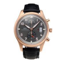 Replique IWC Pilot Spitfire Chronograph de travail chronographe en or rose avec cadran noir-bracelet en cuir - Attractive IWC Montre d'Aviateur pour vous 31705