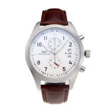 Replique IWC Pilot Spitfire Chronograph de travail Chronographe avec cadran blanc-bracelet en cuir - Attractive IWC Montre d'Aviateur pour vous 31704