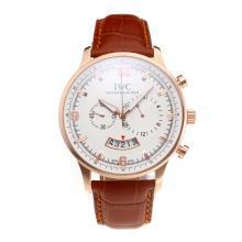 Replique IWC Chronographe de travail boîtier en or rose avec cadran blanc-bracelet en cuir - Attractive Autres IWC montre pour vous 31702