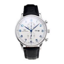Replique IWC Chronographe travail classique avec cadran blanc-bracelet en cuir - Attractive Autres IWC montre pour vous 31701