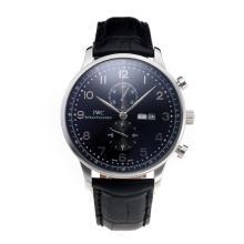 Replique IWC Chronographe travail classique avec cadran noir-bracelet en cuir - Attractive Autres IWC montre pour vous 31700