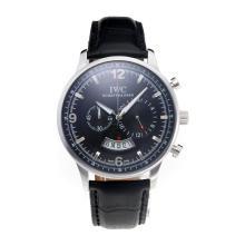 Replique IWC Chronographe travail avec cadran noir-bracelet en cuir - Attractive Autres IWC montre pour vous 31699